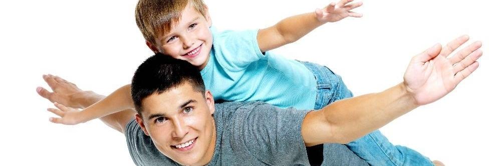 father and son after dental exams in annapolis md