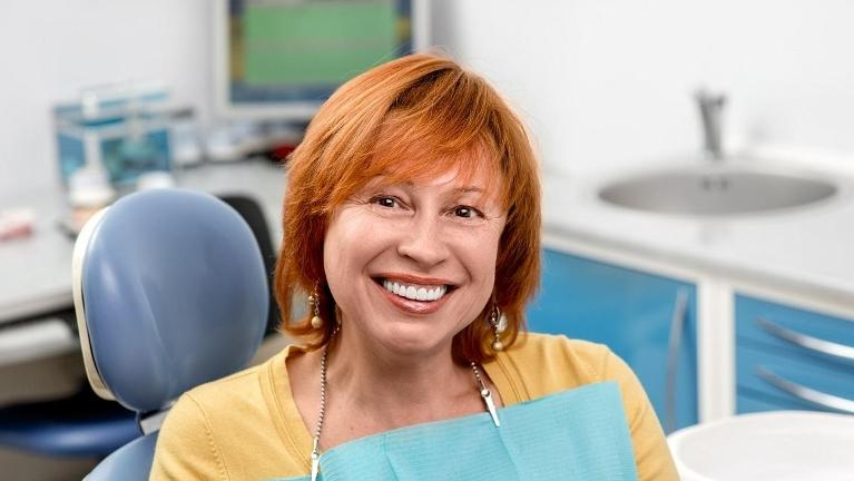 woman after gum disease exam in annapolis md